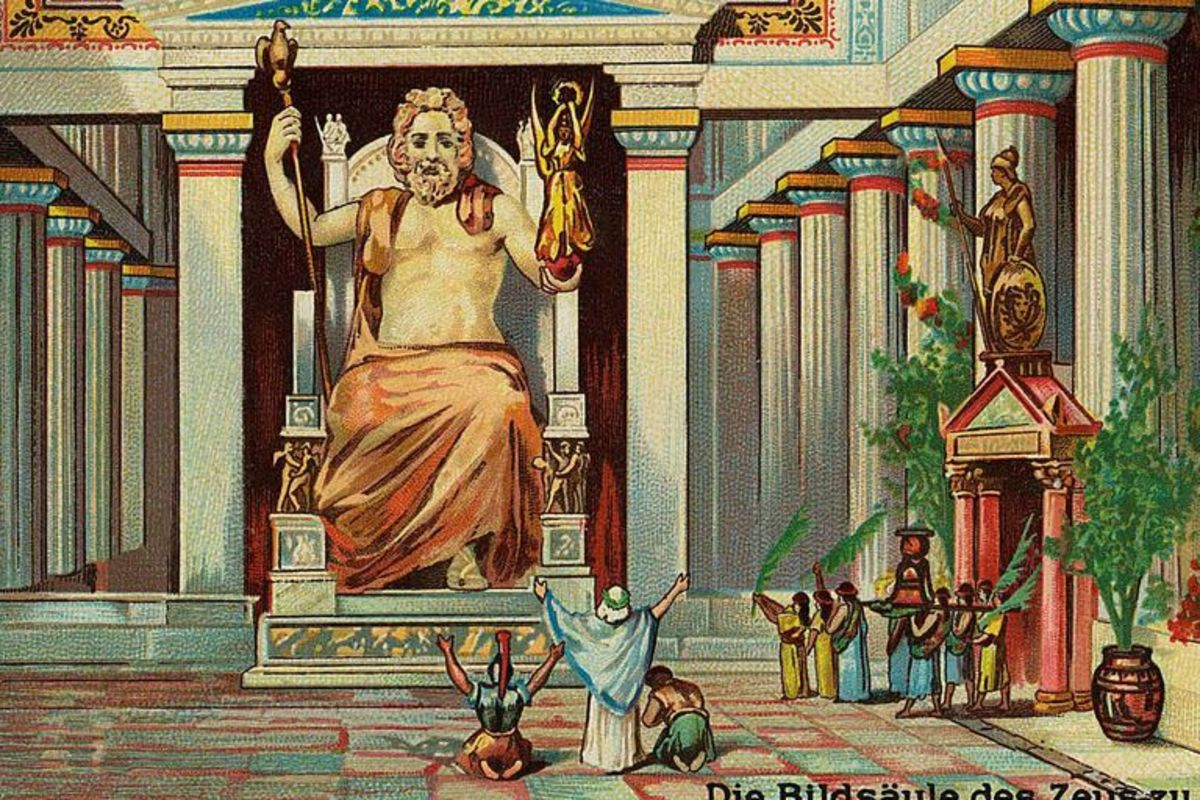 Statue of Zeus in temple at Olympia, one of Seven Ancient Wonders of the World