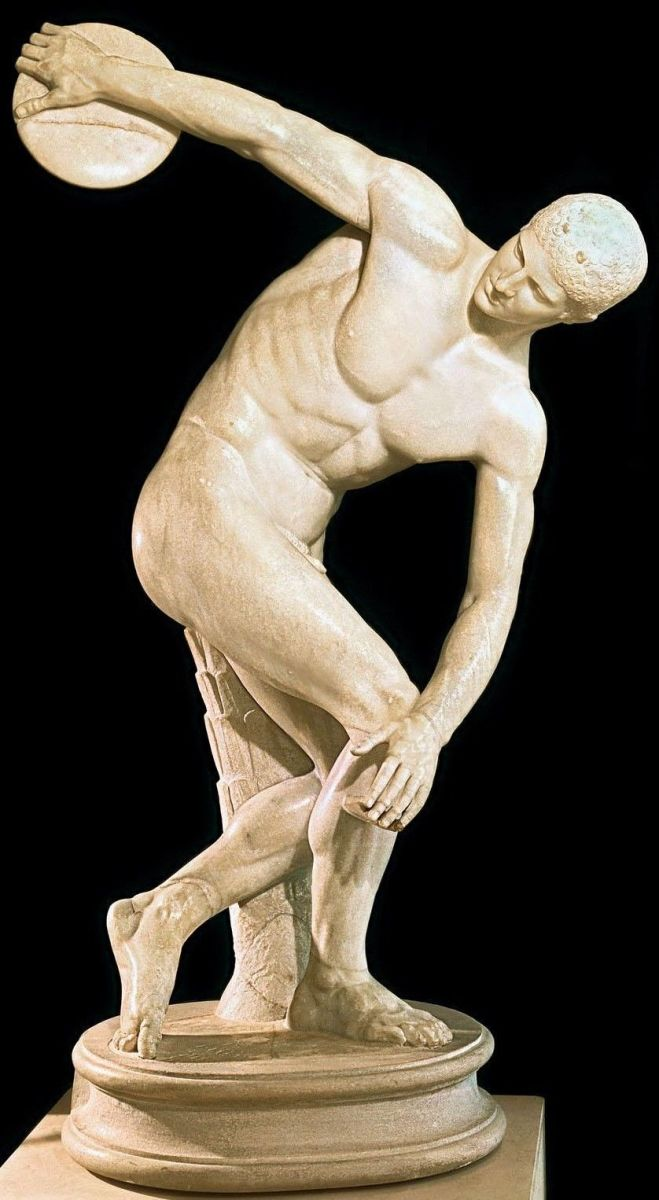 """Statue of Myron's """"Discus Thrower"""", actually a Roman copy of a lost Greek original, the essence of male athletic beauty"""