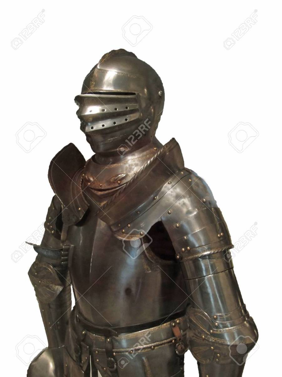 A standard suit of armor as worn by jousting knights of that era