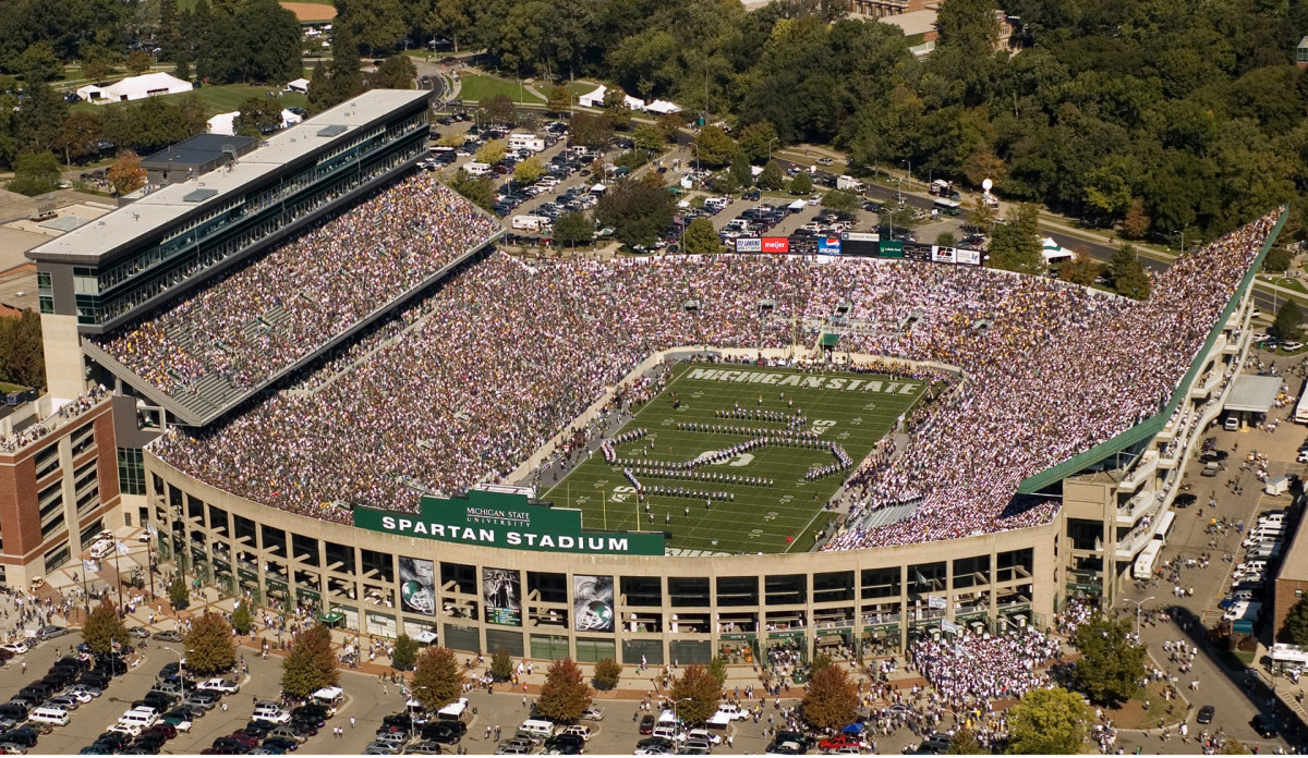 Spartan Stadium, one of America's largest collegiate football venues and continuing the great tradition of ancient-to-modern spectacles