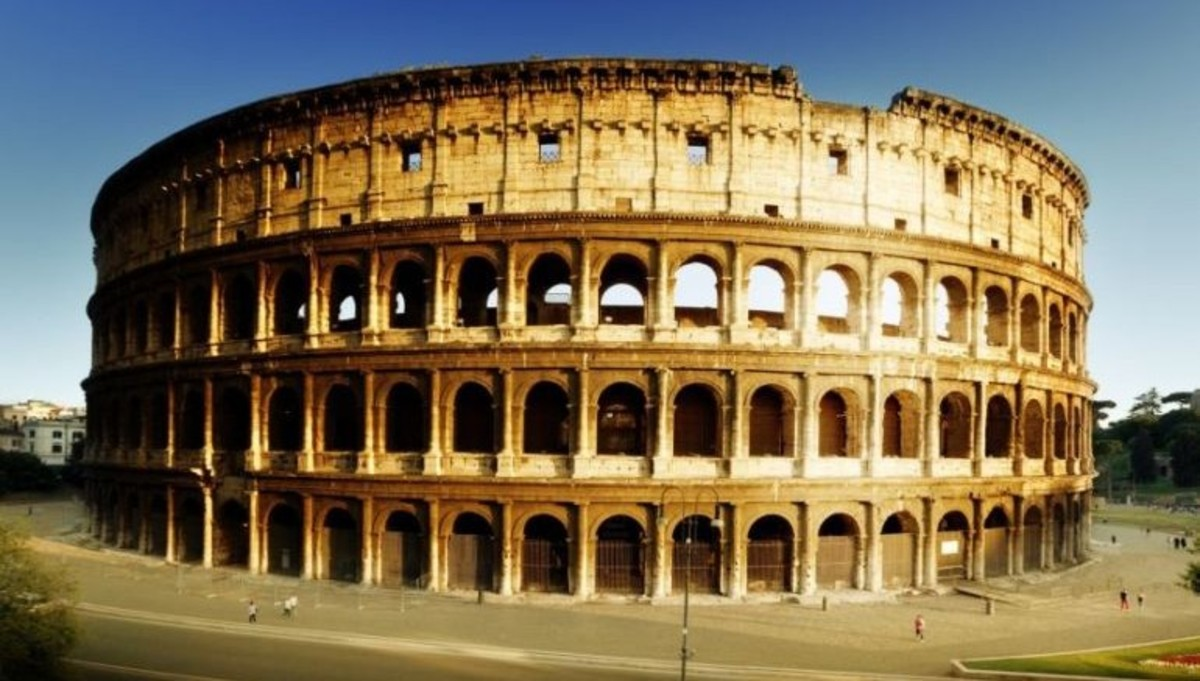 The Colosseum at Rome, largest sports arena of its time and still a major tourist attraction today