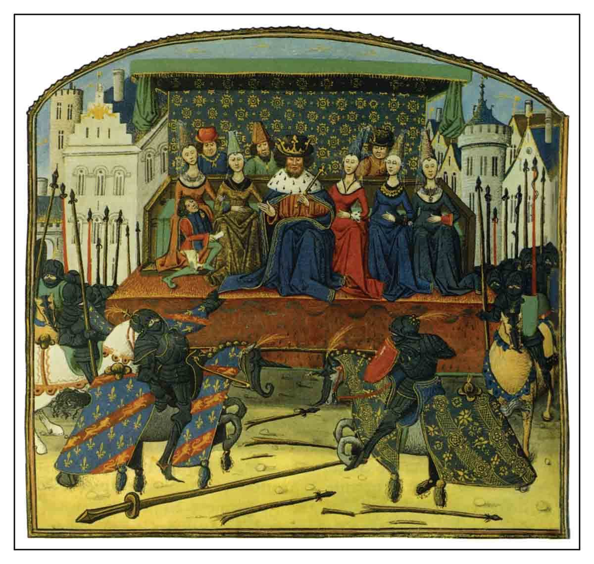 """A 1342 joust performed for England's Edward III, from Froissart's """"Chronicles"""""""