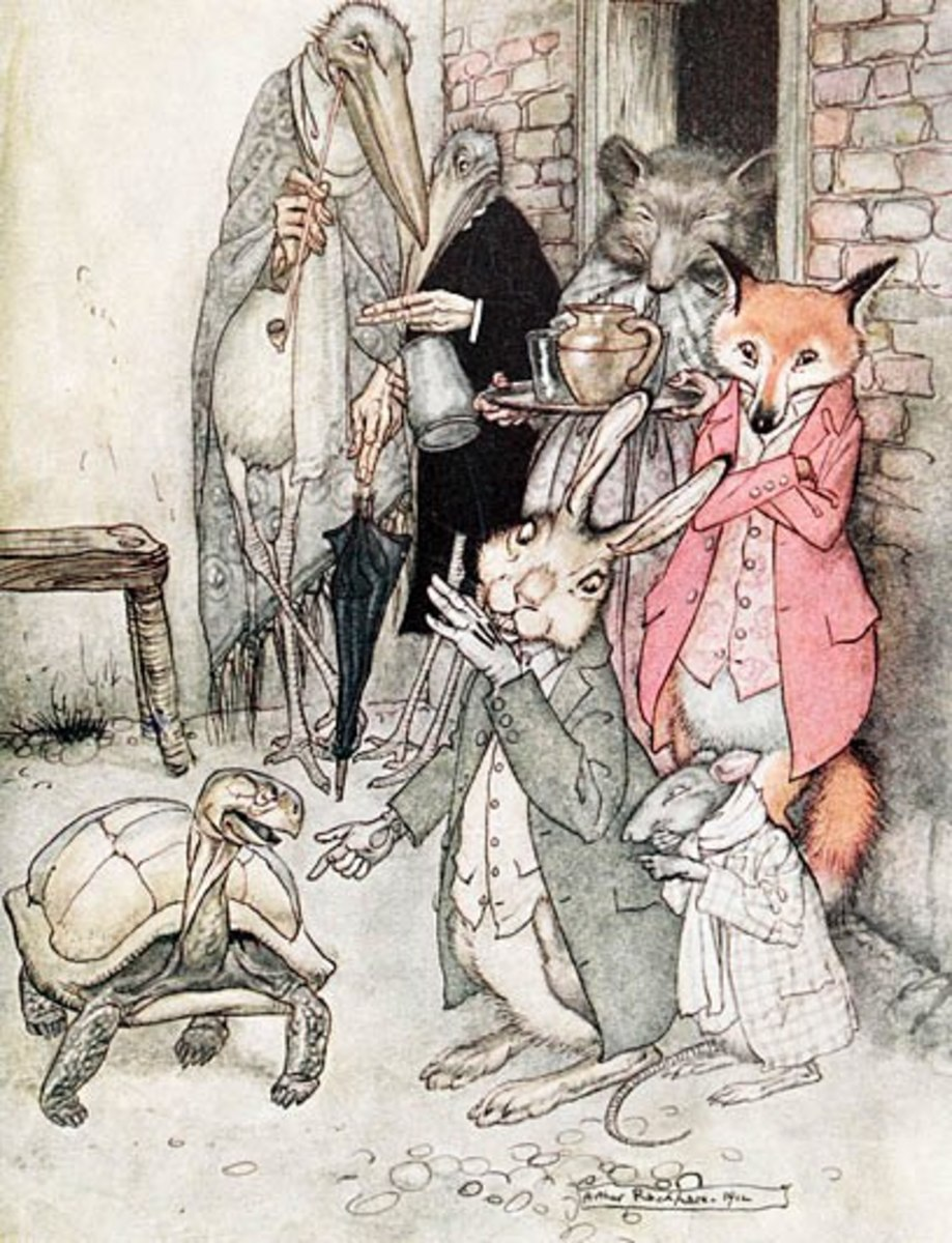 """""""The Tortoise and the Hare"""", from an edition of Aesop's Fables illustrated by Arthur Rackham, 1912 ~"""
