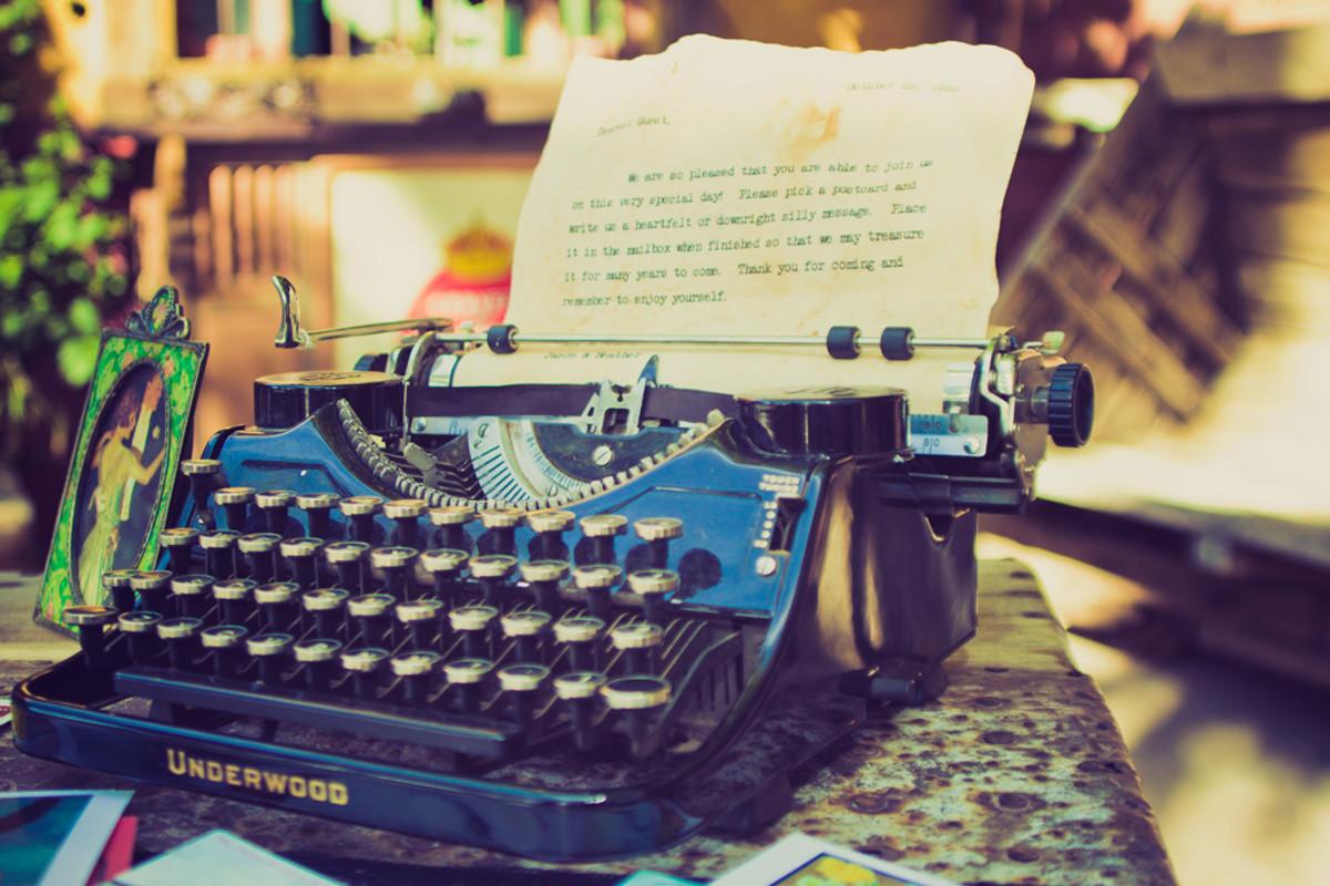 "My typewriter and ""instruction sheet"""