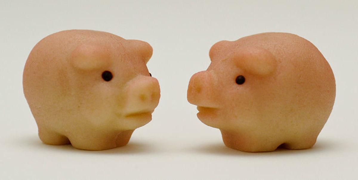 A pair of marzipan pig