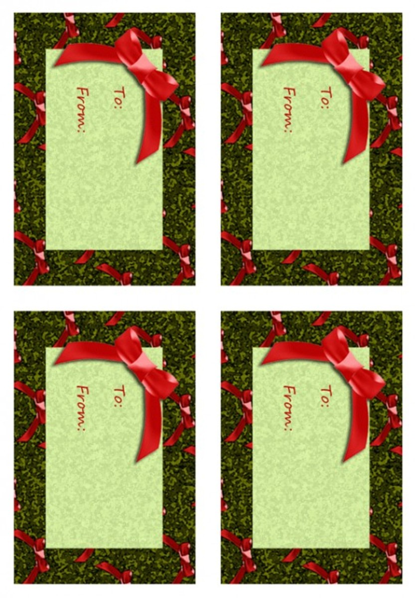 Printable holiday gift tags sheet of 4.
