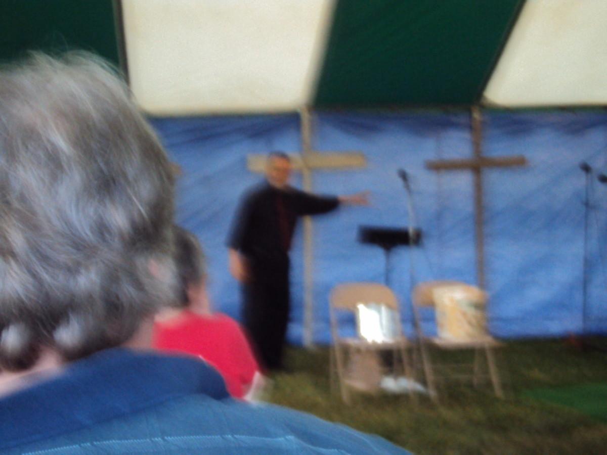 Dr. Terry VanBuskirk preaching tent revival South Dayton Baptist Church May 2012