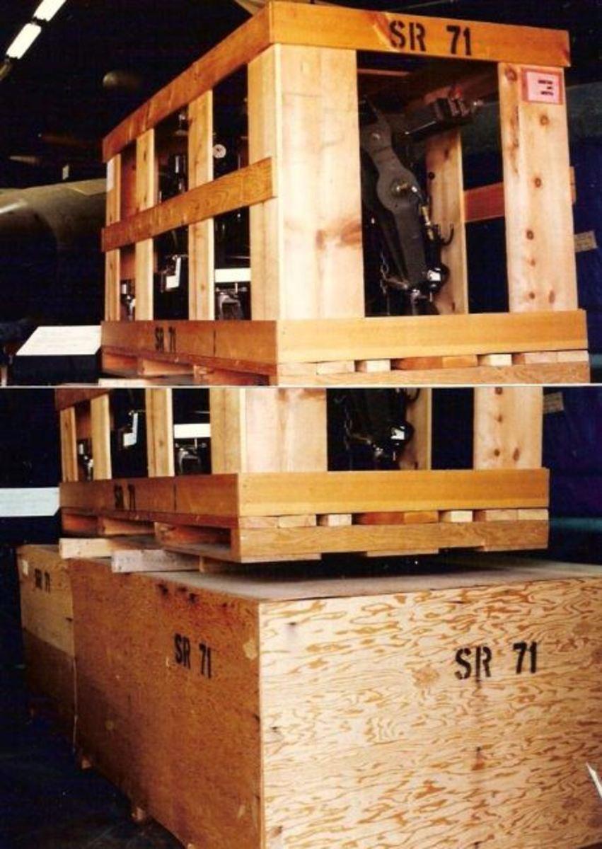 The SR-71 inside crates at the Paul E. Garber Facility, MD, circa 2000.