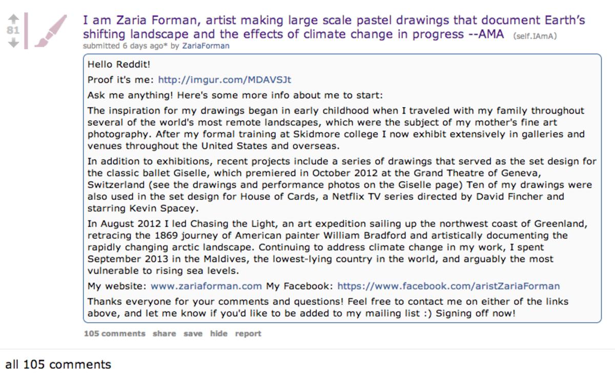 Zaria's AMA thread on Reddit.