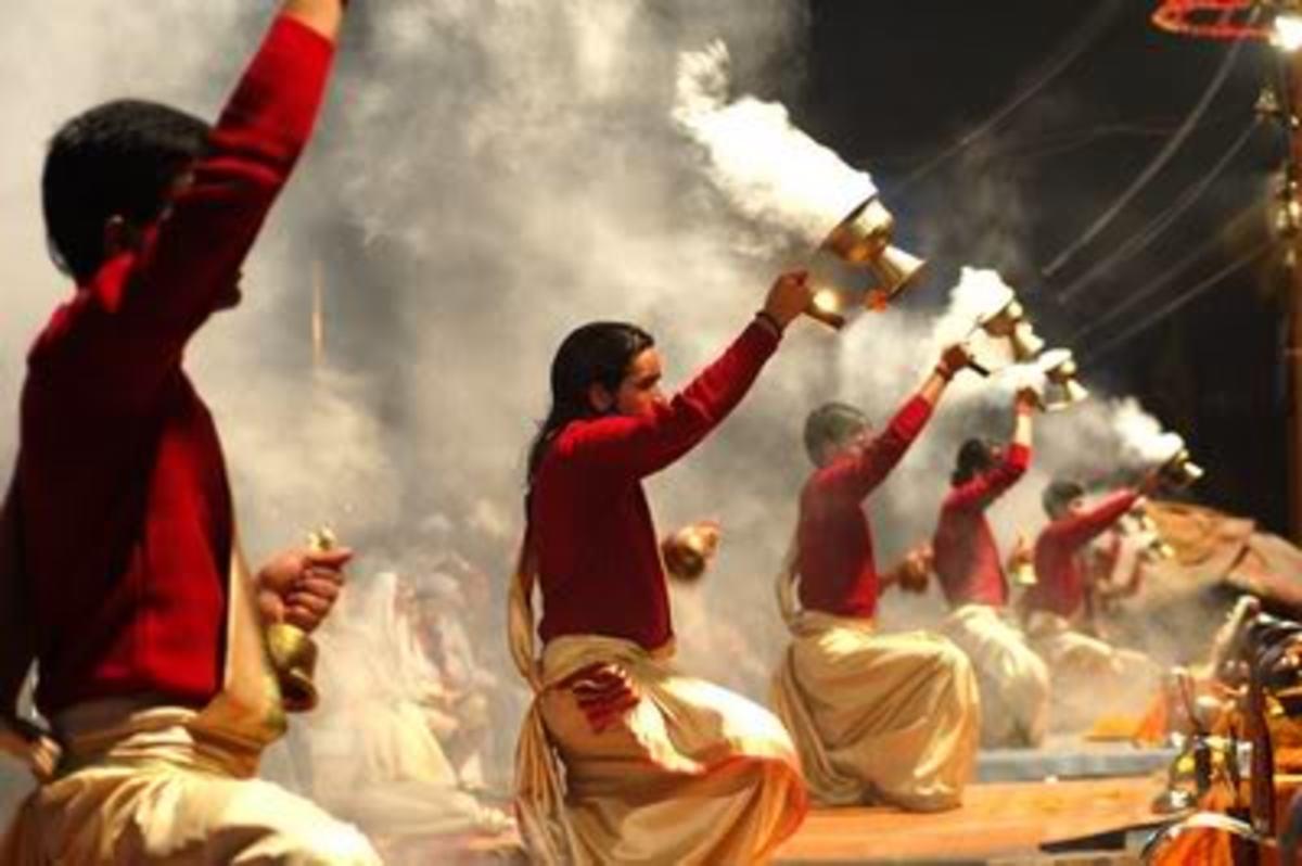 Performing Aarti at Ganga Ghat
