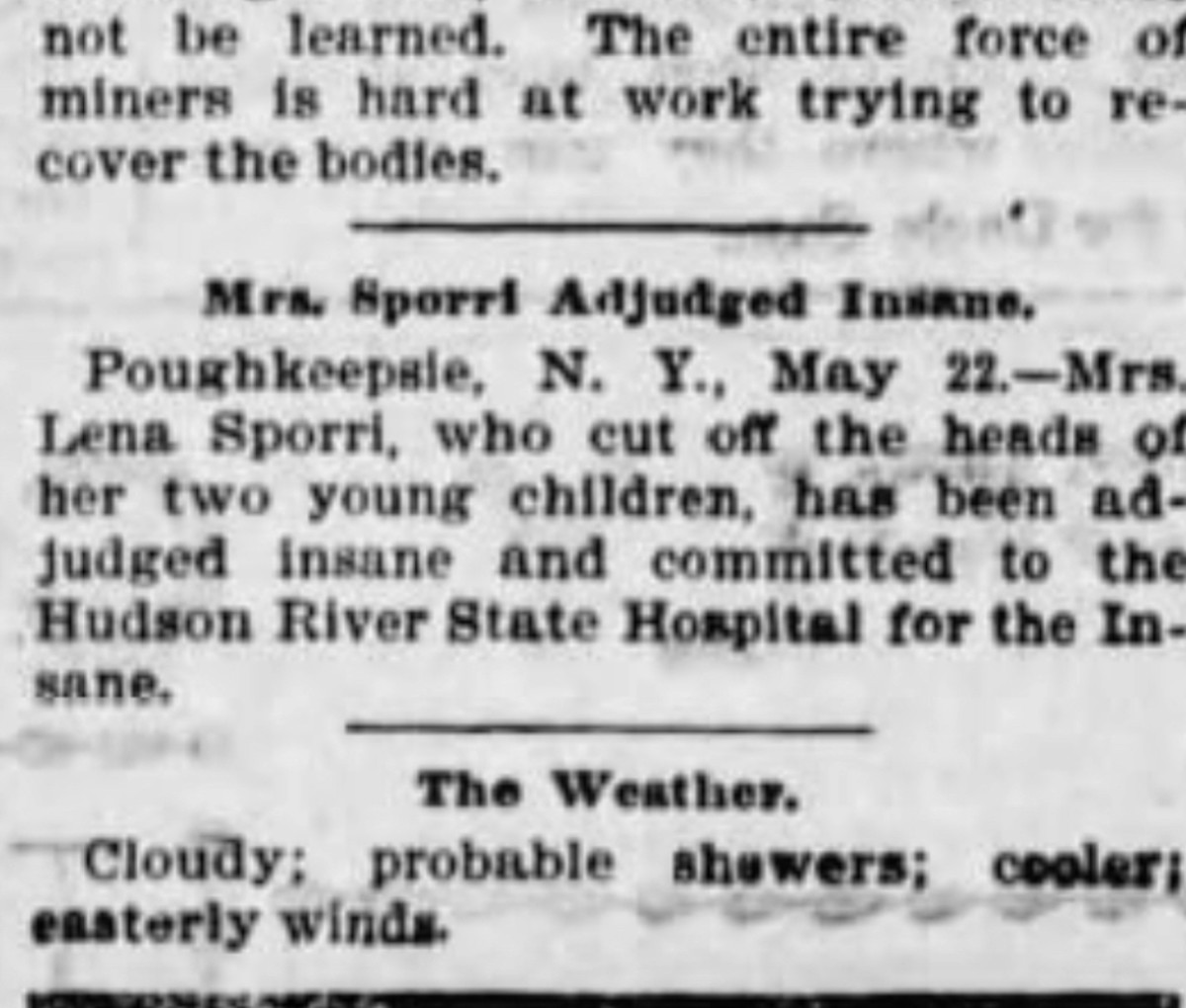 Column in the Poughkeepsie paper detailing Mrs. Sporri's atrocities (1898)