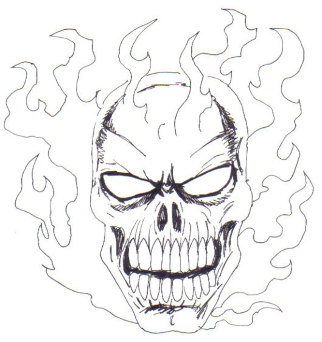 Flaming Skull Drawings