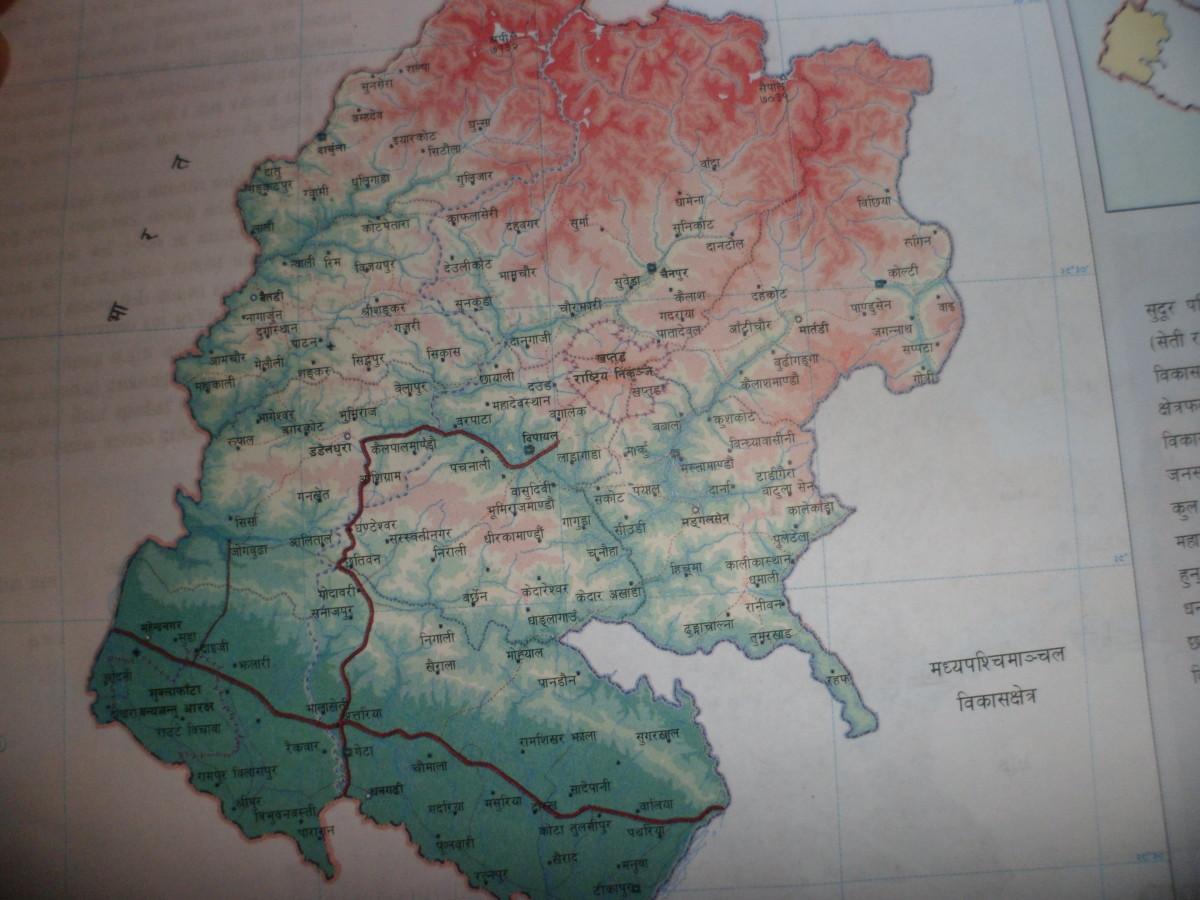 Road Map of Nepal- Far Western Development Region. सूदुर पशि्चमाञ्चल विकास क्षेत्र