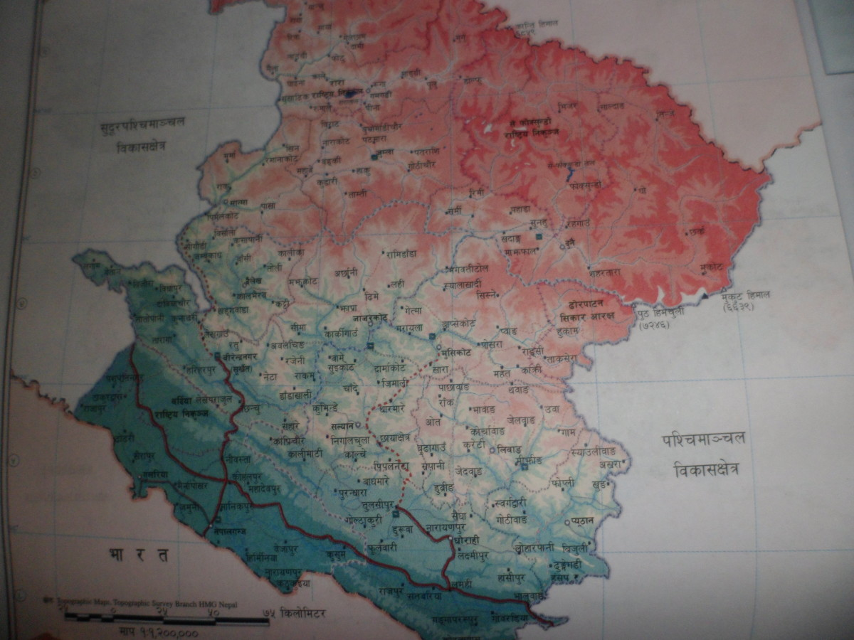 Road map of Nepal- Mid Western Development Region. मध्य पशि्चमाञ्चल विकास क्षेत्र