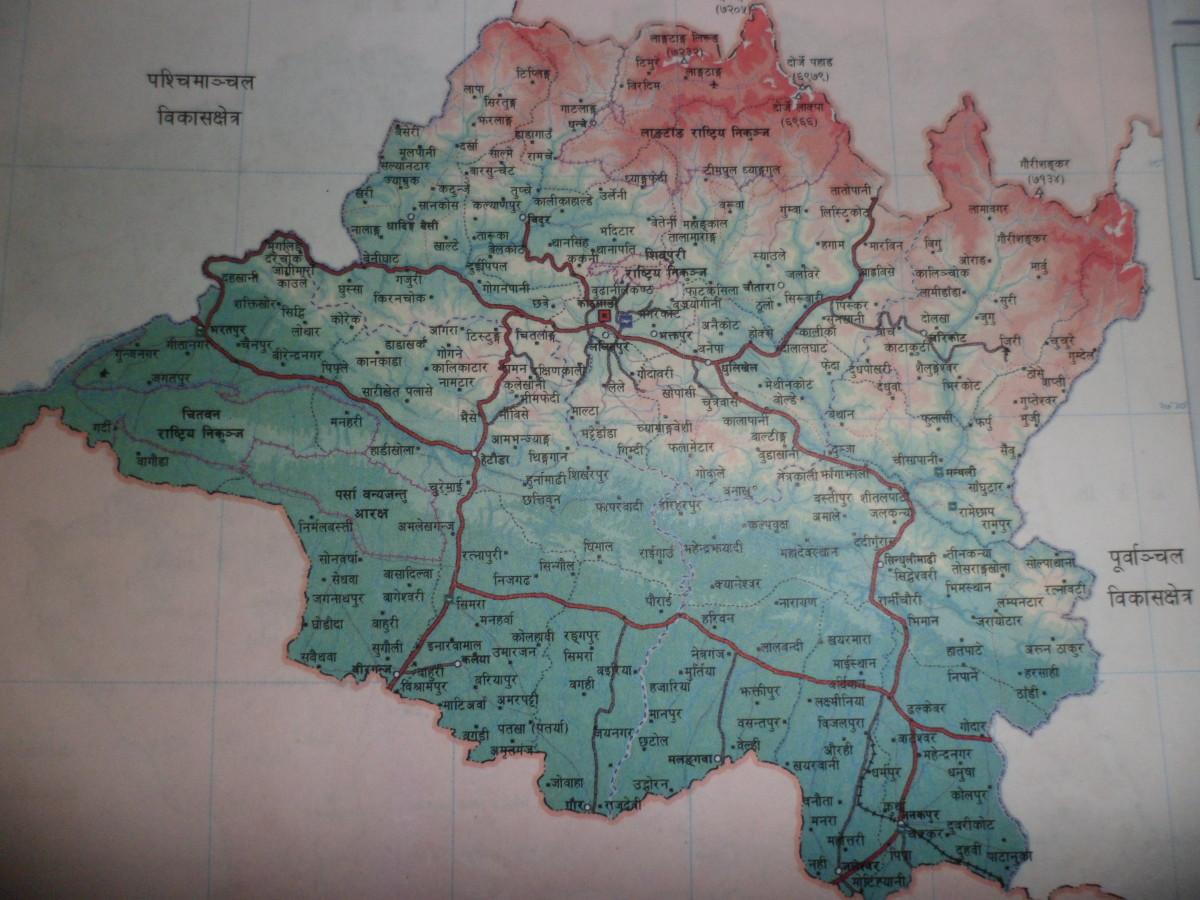 Road map of Nepal- Central Development Region. मध्यमाञ्चल विकास क्षेत्र