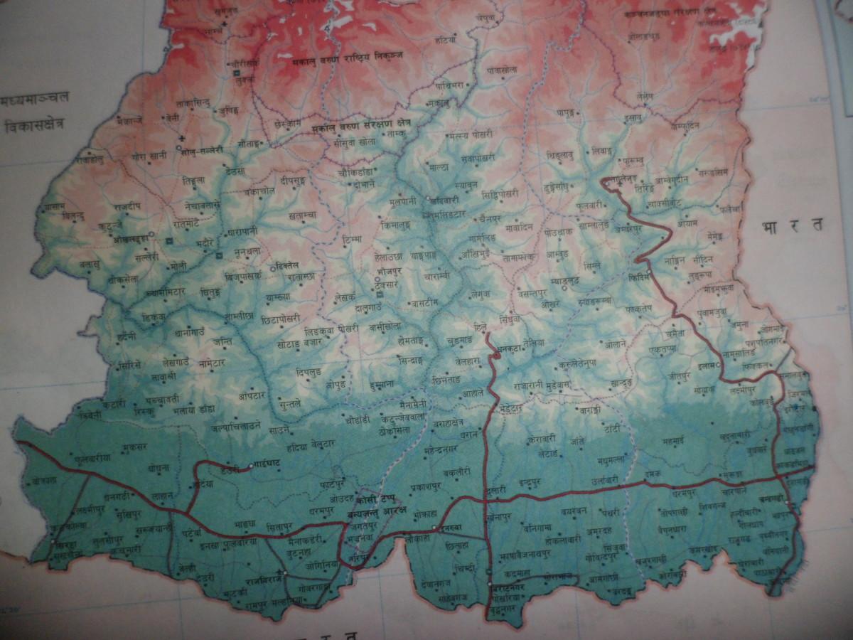 Road map of Nepal- Eastern Development Region. पुर्वाञ्चल विकासक्षेत्र