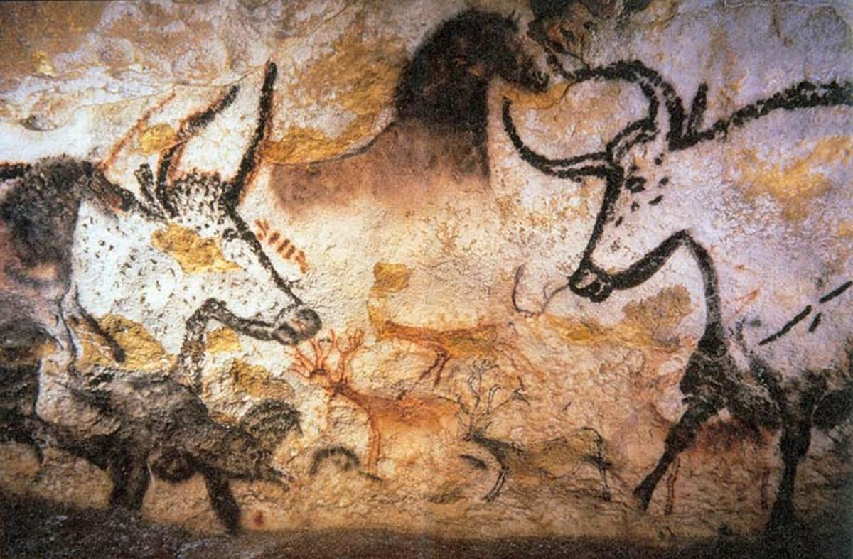 The aurochs depicted in cave paintings in Lascaux, France from probably about 17,000 years ago.