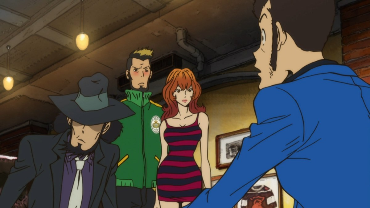 Fujiko Mine arrives, despite not being an official member of Lupin III's gang.