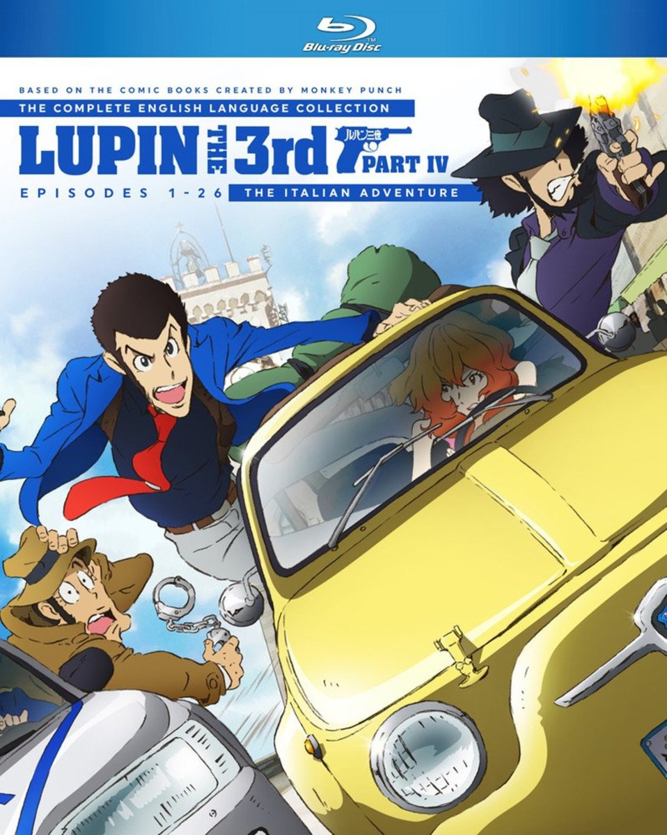 """Lupin the Third Part IV: The Italian Adventure"" Discotek blu-ray cover."