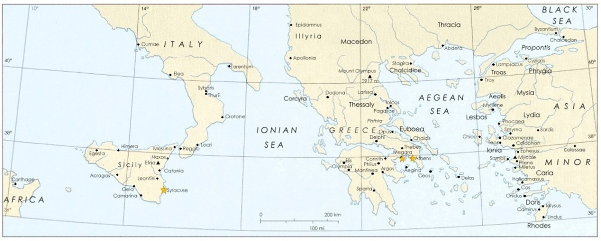 """Map of ancient Greece with """"stars"""" on Plato's locations."""