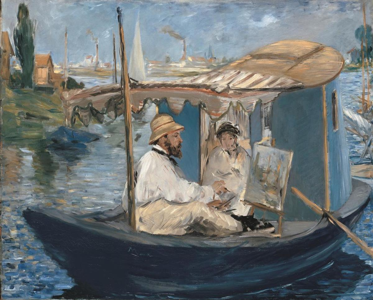 Claude Monet Self-Portrait, on his boat