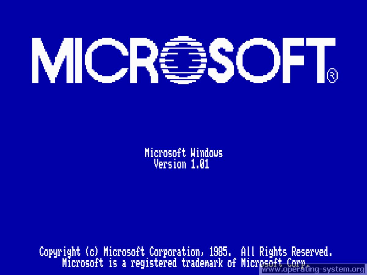 Windows 1.01 Boot up Screen