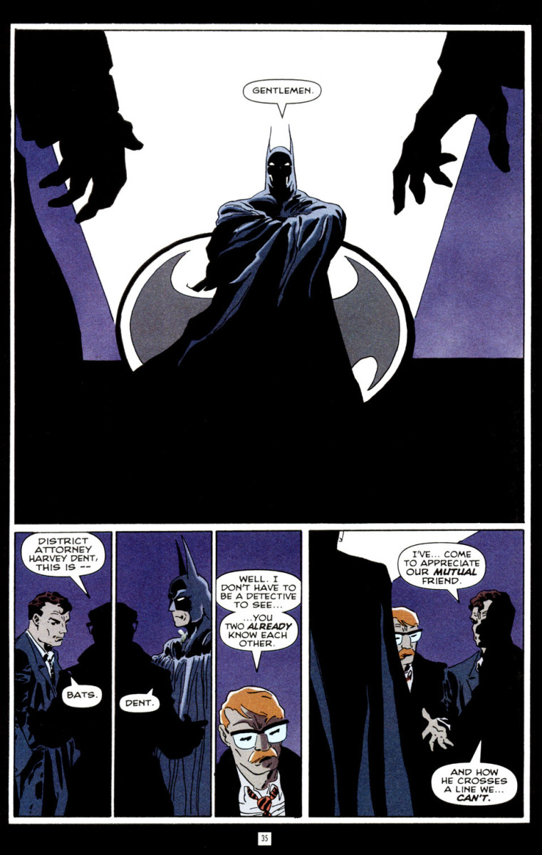 Batman meets with Jim Gordon and Harvey Dent to discuss bringing down Carmine Falcone.
