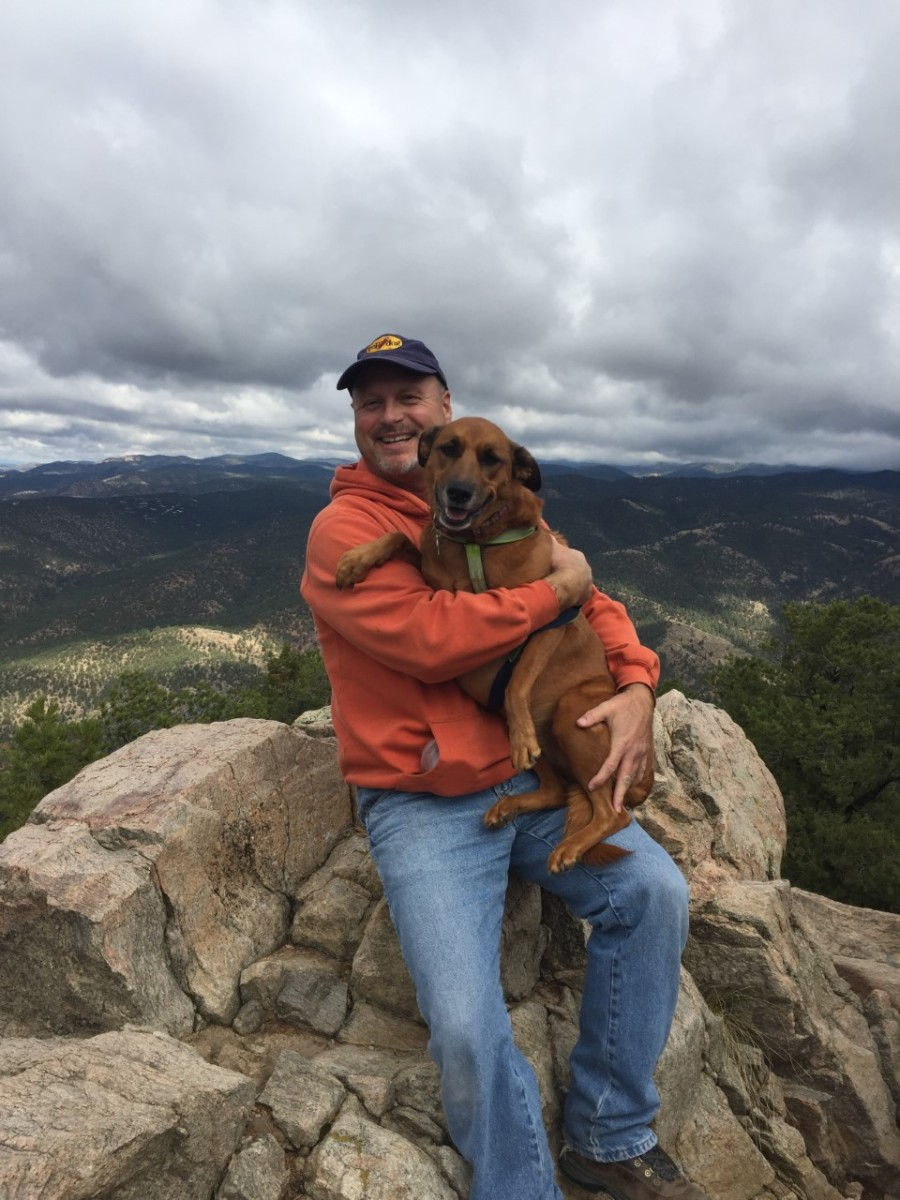The author and Ella the Brown Wonder on the summit of Atalaya Mountain
