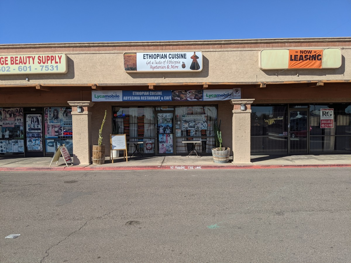 Abyssinia Restaurant and Cafe located in strip mall at NW Corner of Indian School and 9th Street in Phoenix, AZ