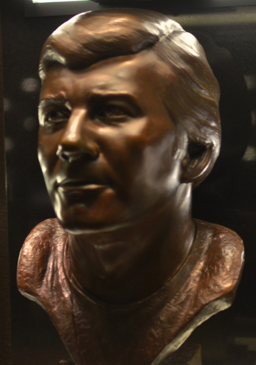 Len Dawson's bust is seen in the gallery at the Pro Football Hall of Fame in Canton, Ohio.