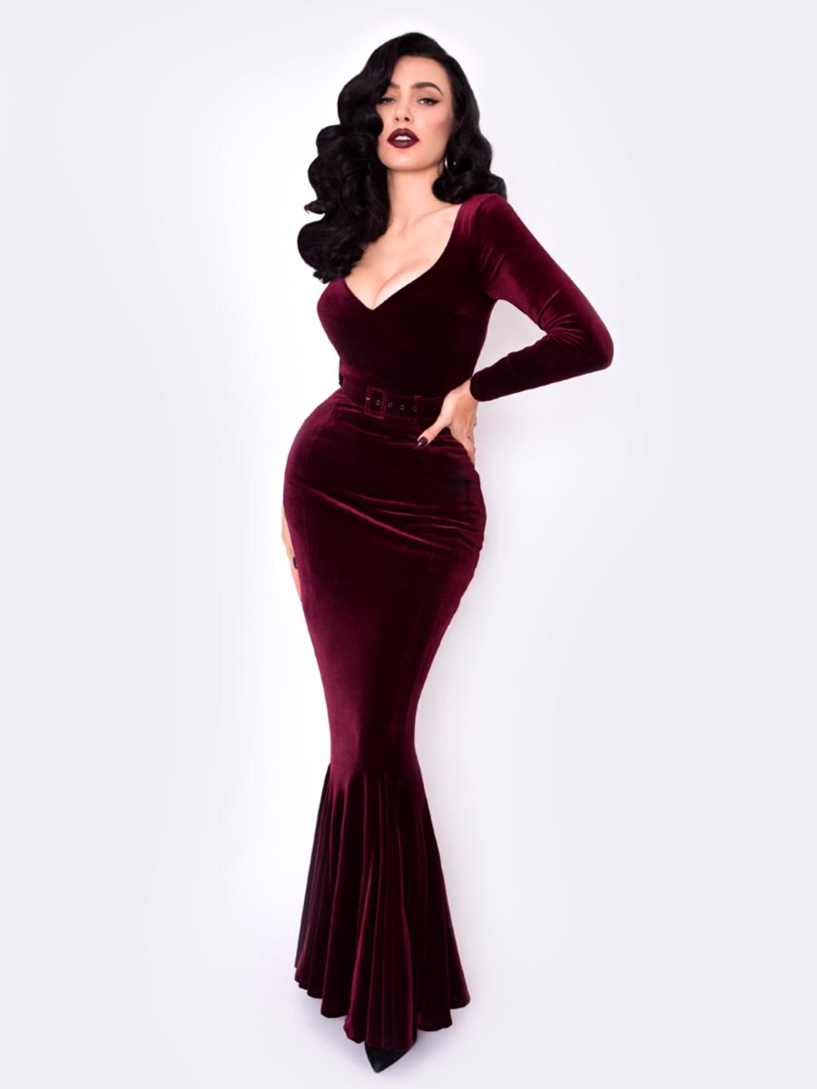 Black Marilyn Mermaid Gown in Oxblood Velvet