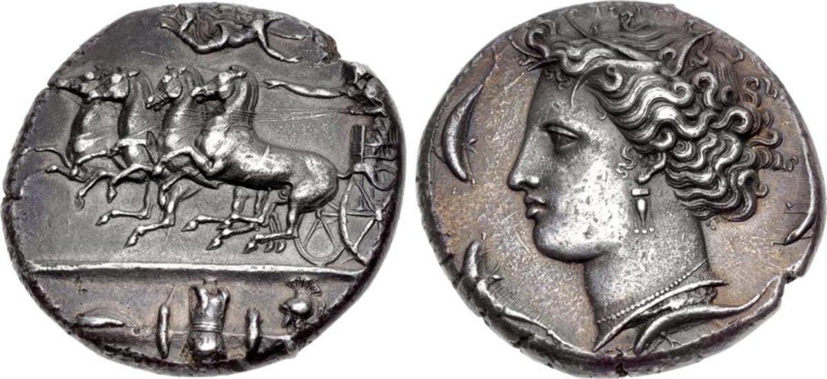 Syracuse silver decadrachm coin, c. 404 – 390 BC.