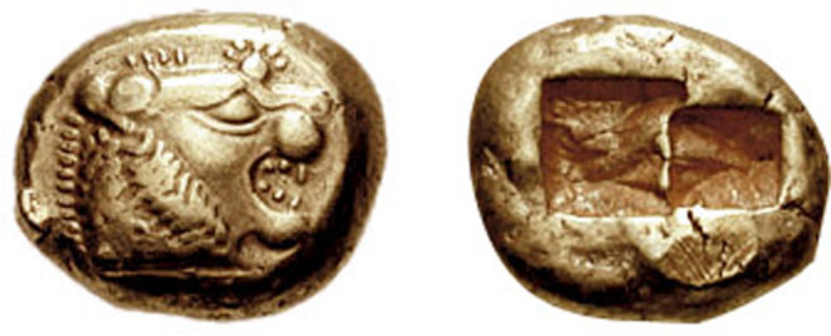 Early sixth century BC Lydian electrum 1/3 stater.