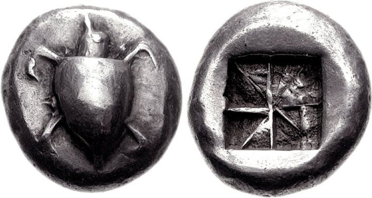 Silver stater of Aegina, c. 550 to 530 BC. The obverse features a sea turtle, and the reverse consists of an incused punch mark.