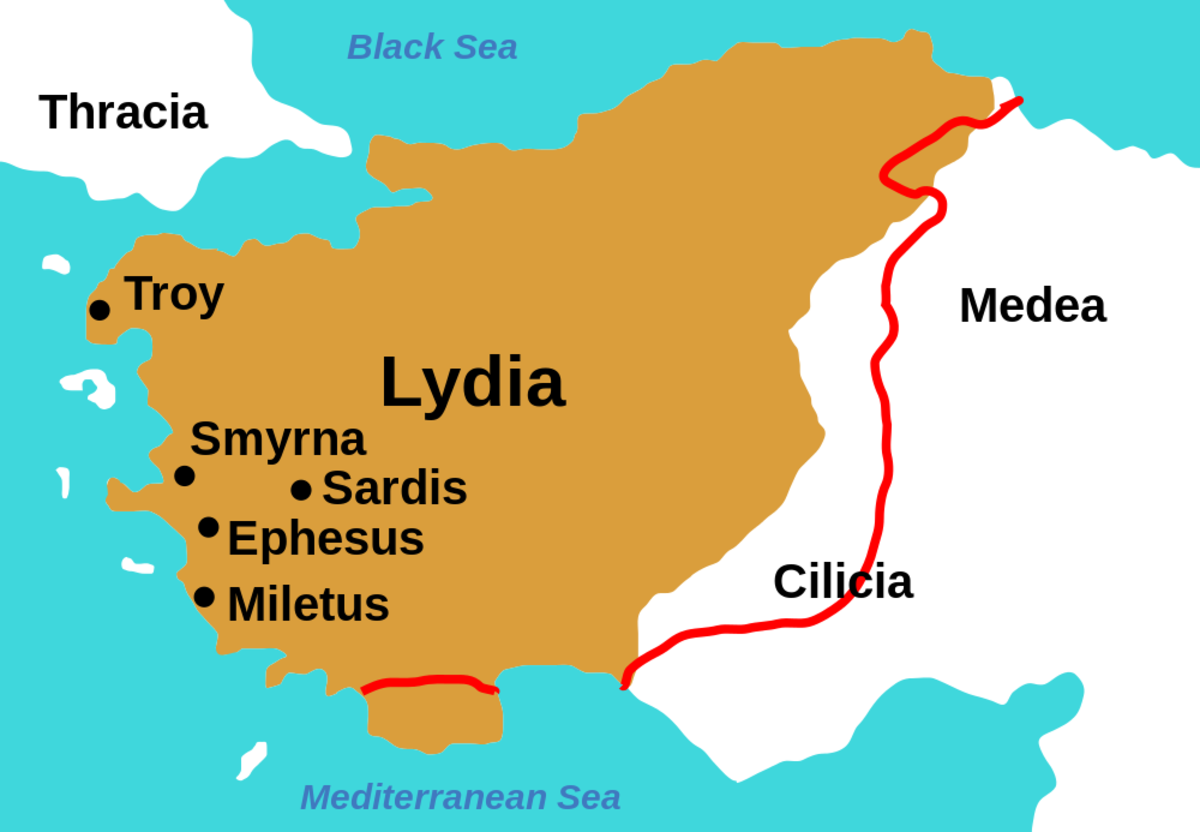 Map of Ancient Lydian Empire under King Croesus, c. 547 BC.