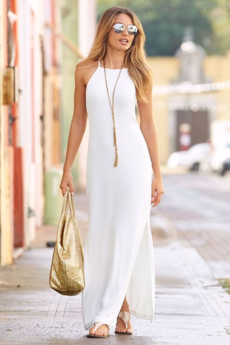 You'll love the way the halter highlights the shoulders comfortably
