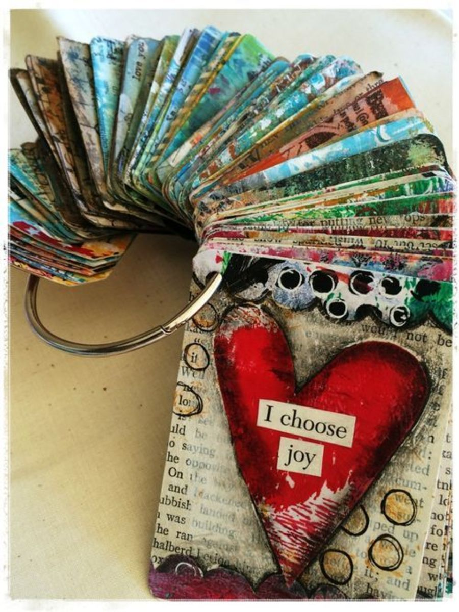 After making multiple affirmation cards, you can display them on a key ring, like in this photo, and have them readily available.
