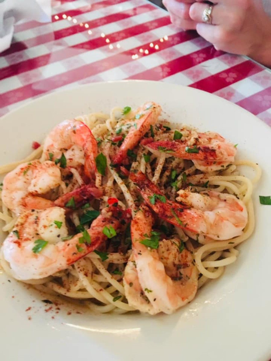 The shrimp scampi was light, buttery, and freshly made.