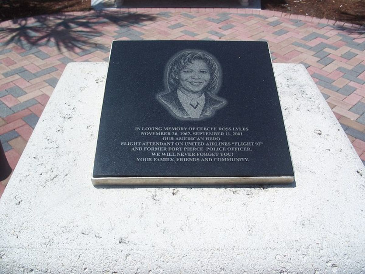 CeeCee Ross Lyles monument. She was one of the flight attendants on United Airlines Flight 93 on September 11, 2001.