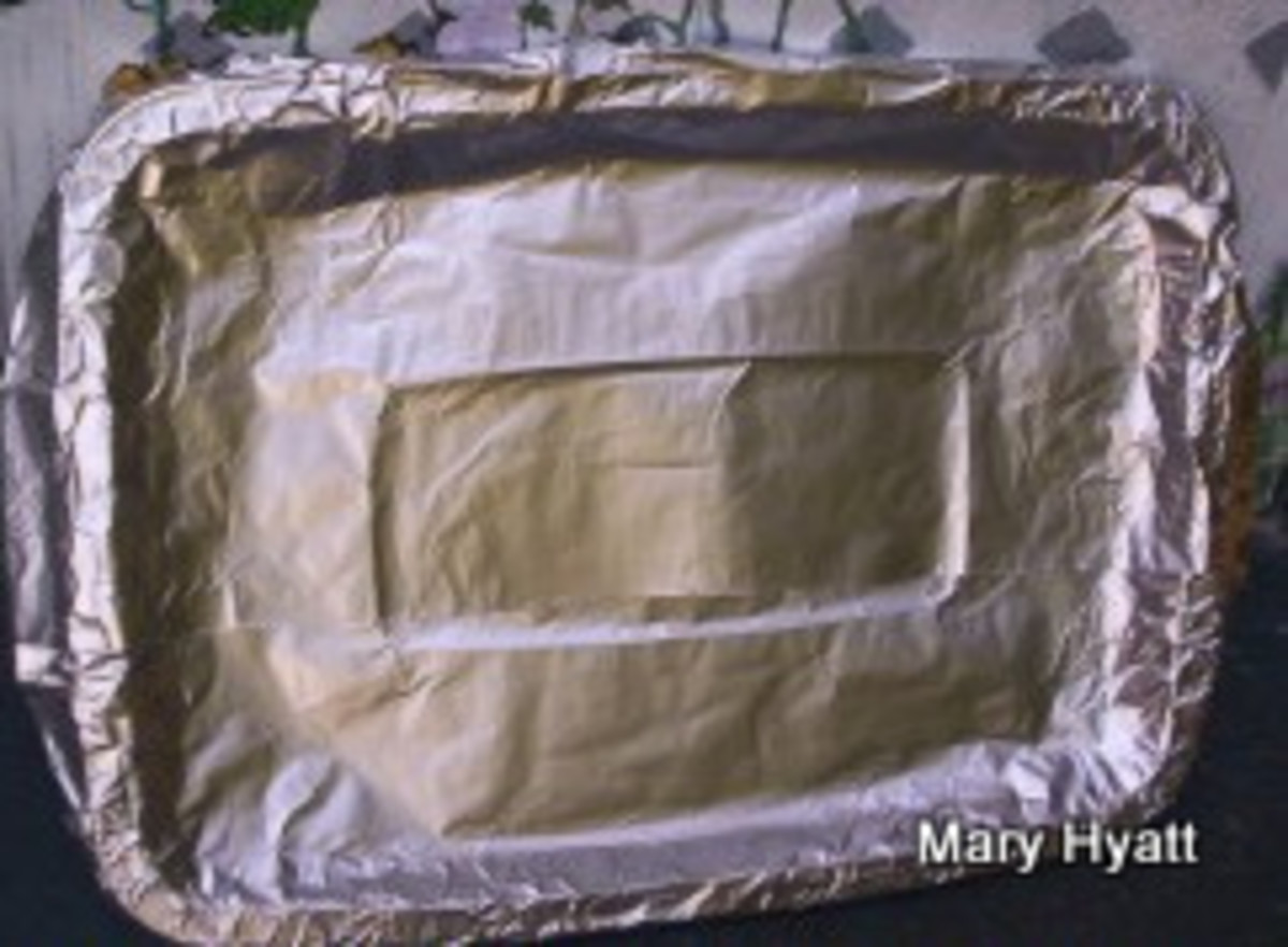 The base for the Easter Bunny Cake  is now wrapped in foil.