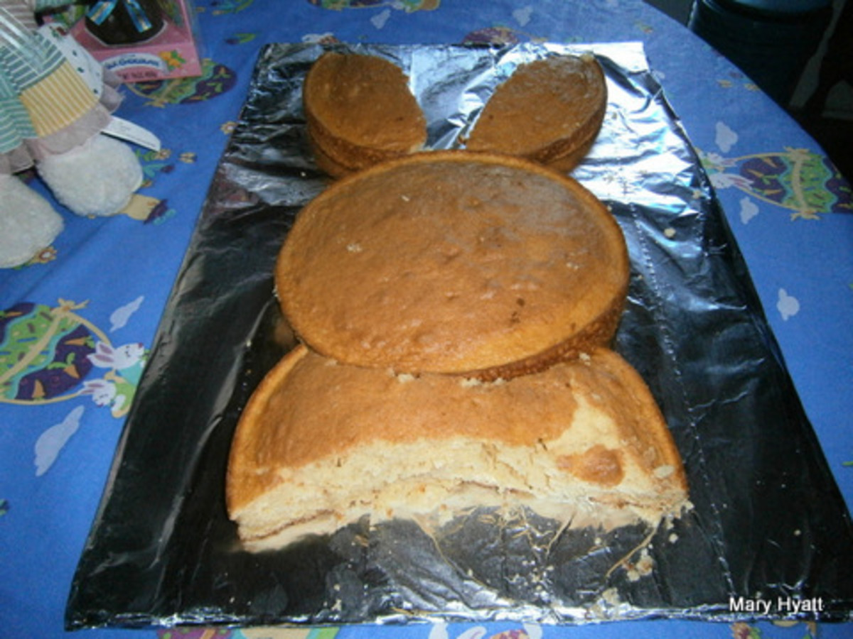 Our Easter Bunny Cake Is now ready for the children to decorate.  Before they start frosting, remove all the cumbs