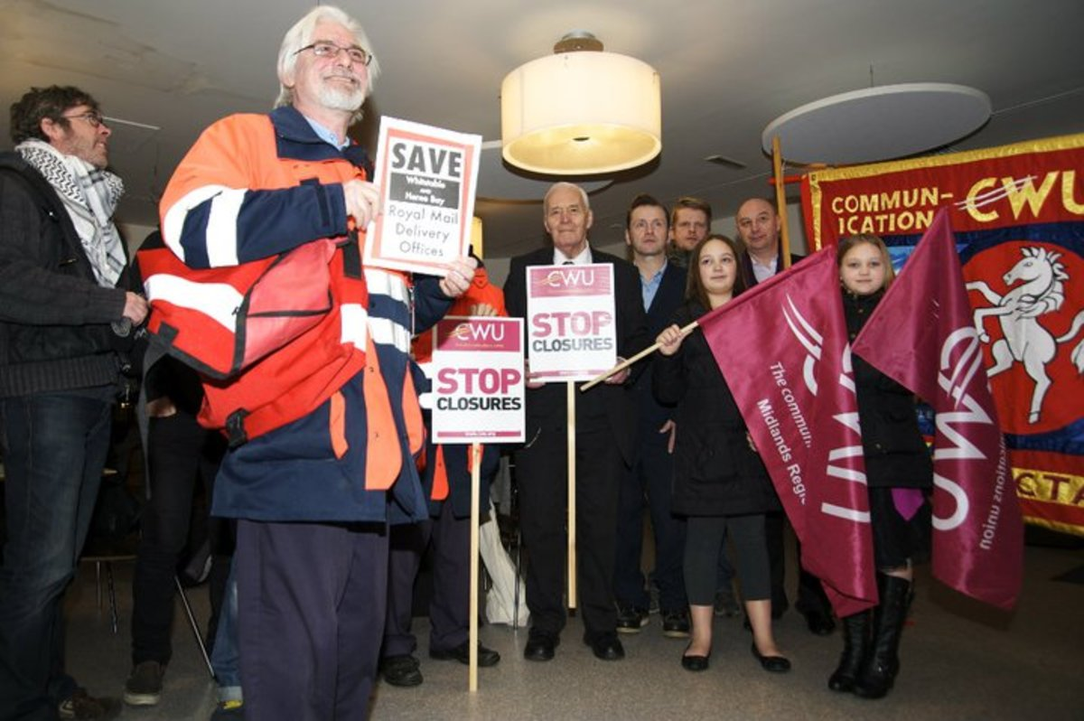 Tony Benn meeting postal workers in the Gulbenkian Theatre January 2011