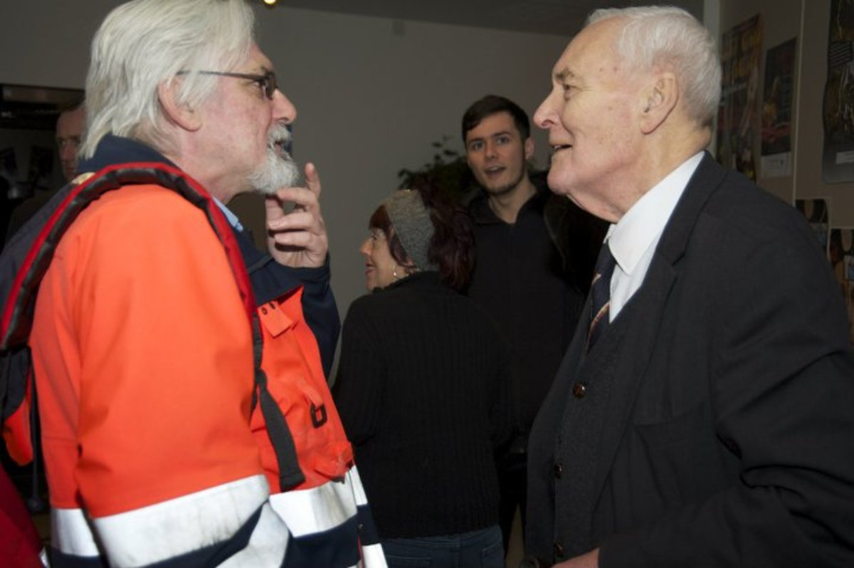 CJ Stone and Tony Benn at the Gulbenkian Theatre Canterbury, January 2011
