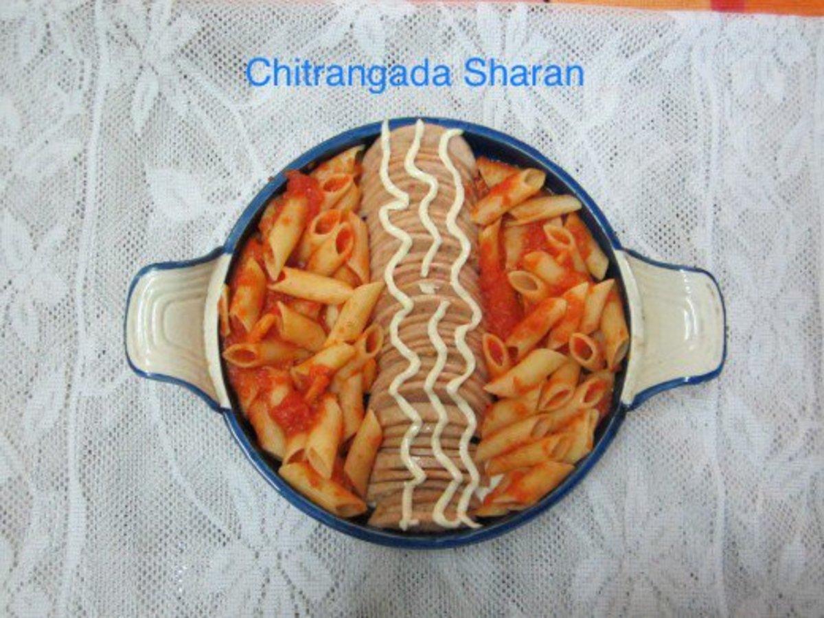 Delicious recipe prepared with leftover chicken salami and pasta.