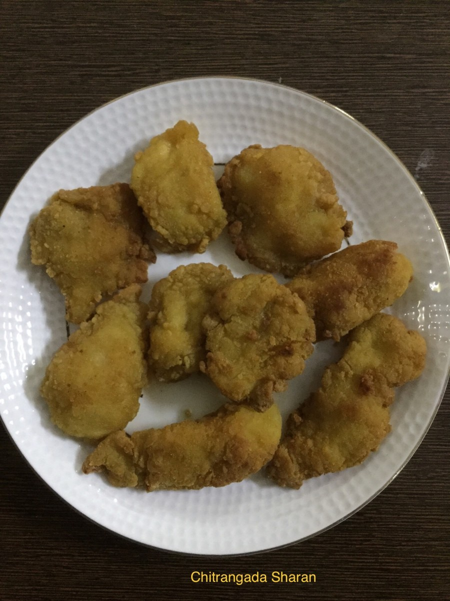 Fish pakodas with leftover fish pieces—yummy!