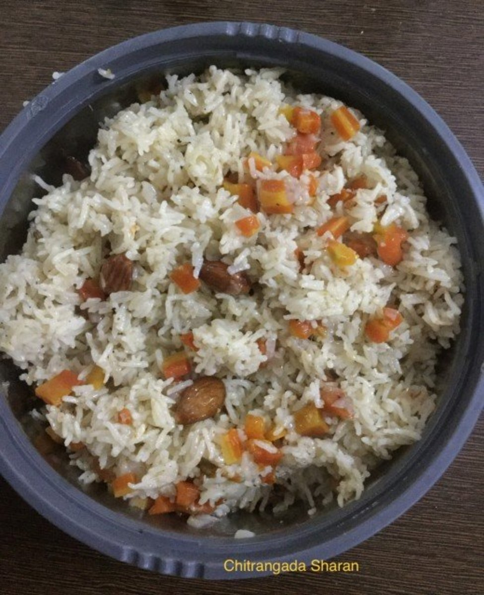 Combine leftover carrots, peas and other vegetables, into the leftover rice, for a wholesome meal. Add butter or cheese, according to your preference.