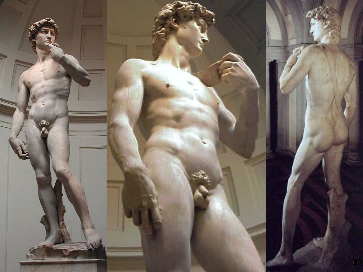various view of the sculpture by Michelangelo called David