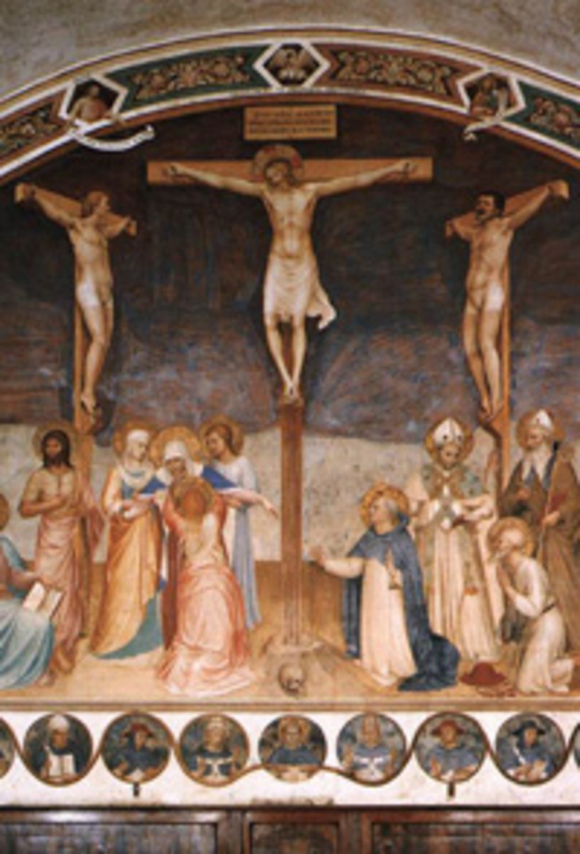 Cross Scene - Fra Angelico: Crucifixion and Saints, circa 1441-1442. This shows the three crosses. [Web Gallery of Art]