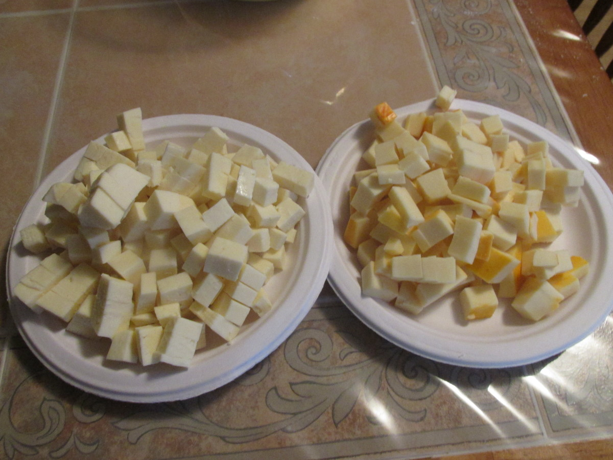 Cheese cut into cubes