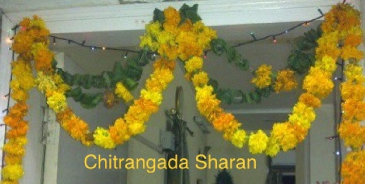 Mangoes leaves are used to decorate entrance doors and they are called Toran